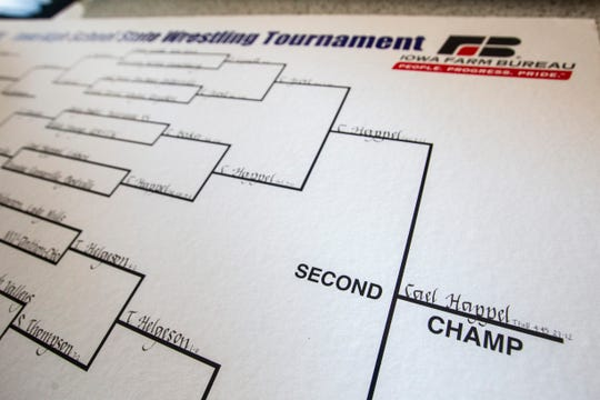 One of Cael Happel's two Iowa high school state wrestling brackets sits out at their home on Friday, Feb. 8, 2019 in Lisbon, Iowa.