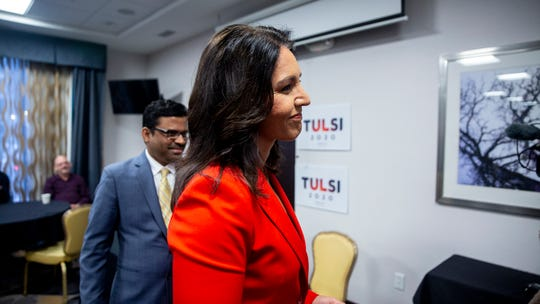 Rep. Tulsi Gabbard, D-Hawaii, speaks at a meet and greet event while visiting Iowa for the first time since announcing her campaign for president, on Monday, Feb. 11, 2019, in downtown Des Moines.