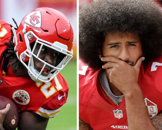 Kareem Hunt, left, and Colin Kaepernick.