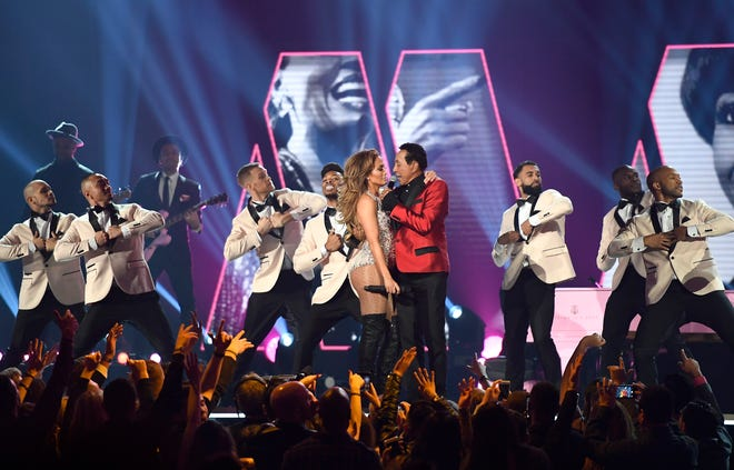 Jennifer Lopez and Smokey Robinson perform during the 61st Grammy Awards at Staples Center on Feb. 10, 2019, in Los Angeles.