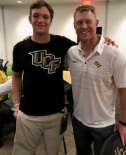 Michigan State transfer punter William Przystup, left, has agreed to join Scott Frost at Nebraska. Frost recruited Przystup while he was the coach at Central Florida.