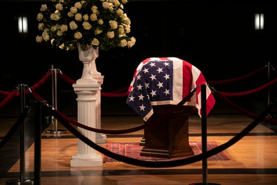 John Dingell lies in repose at the Michael A. Guido theater in Dearborn on Monday, Feb. 11, 2019.