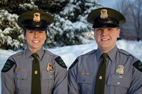 Michigan Department of Natural Resources Conservation Officers Jenni Hanson and Zach Painter patrol Gogebic County. They worked on Saturday, Feb. 9, 2019, to rescue four stranded snowmobilers in Ontonagon County.