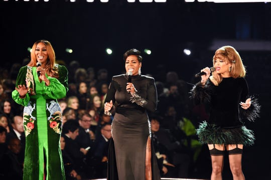 Left to right: Yolanda Adams, Fantasia, and Andra Day perform during the 61st Annual Grammy Awards at Staples Center on Feb. 10, 2019, in Los Angeles.