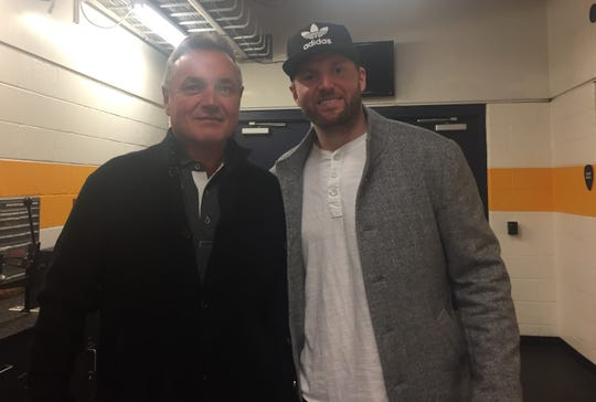 Thomas Vanek and his dad, Zdenek, at Bridgestone Arena in Nashville on Monday, Feb. 11, 2019