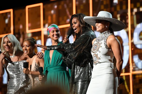 Lady Gaga, Jada Pinkett Smith, Alicia Keys, Michelle Obama, and Jennifer Lopez speak onstage at the 61st Grammy Awards at Staples Center on Feb. 10, 2019, in Los Angeles.