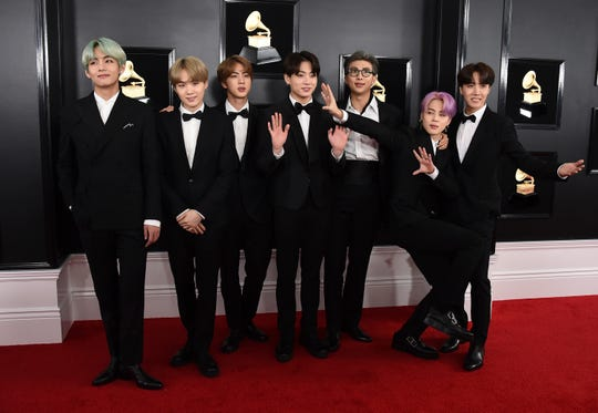 BTS arrives at the 61st annual Grammy Awards.