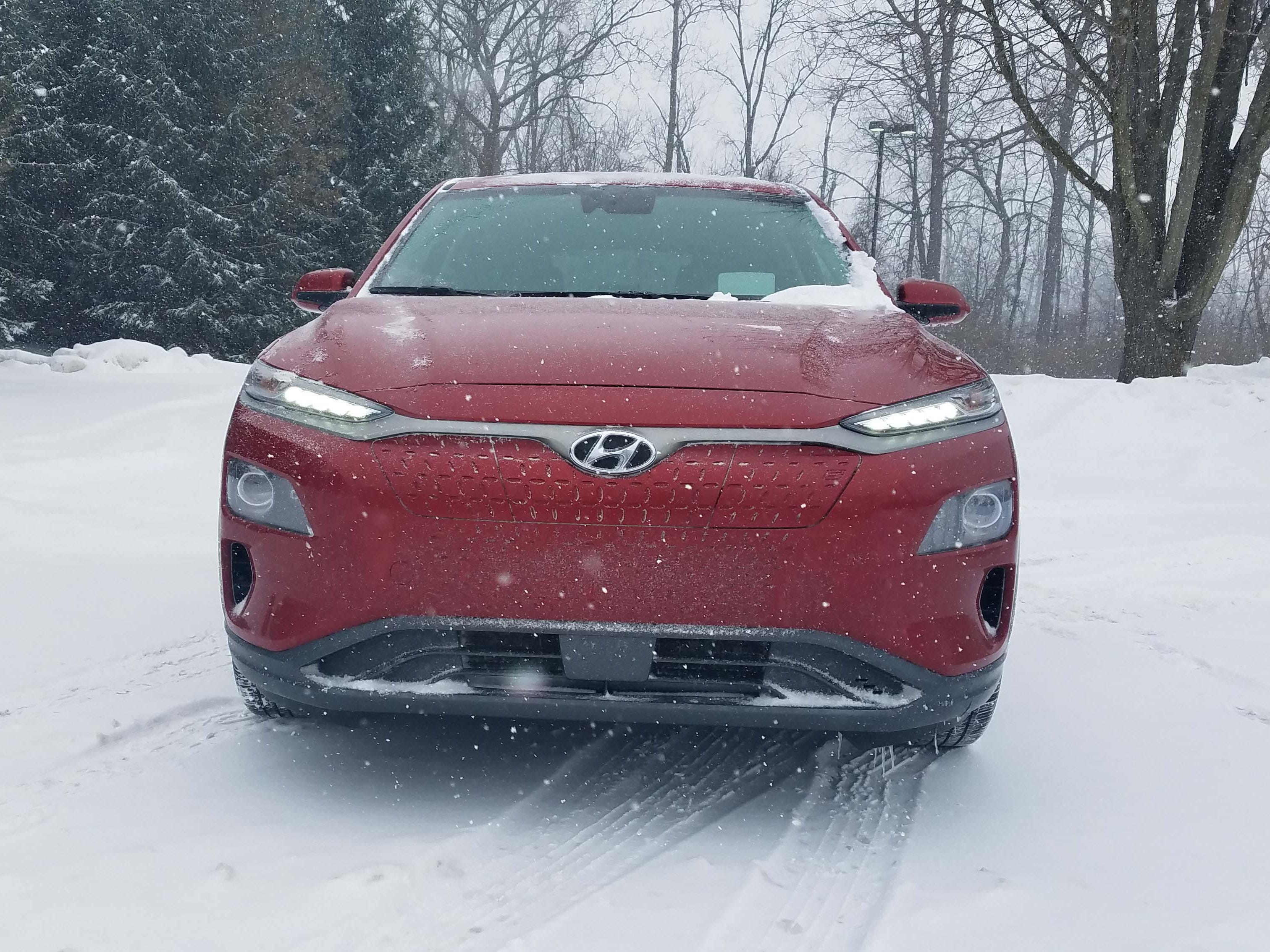 Who needs a grille? The 2019 Hyundai Kona EV gives off a Tesla Model X vibe by eliminating its grille save for barely seen chicken markings that help disguise the charge port on the left front. The headlights are actually below the running lights.