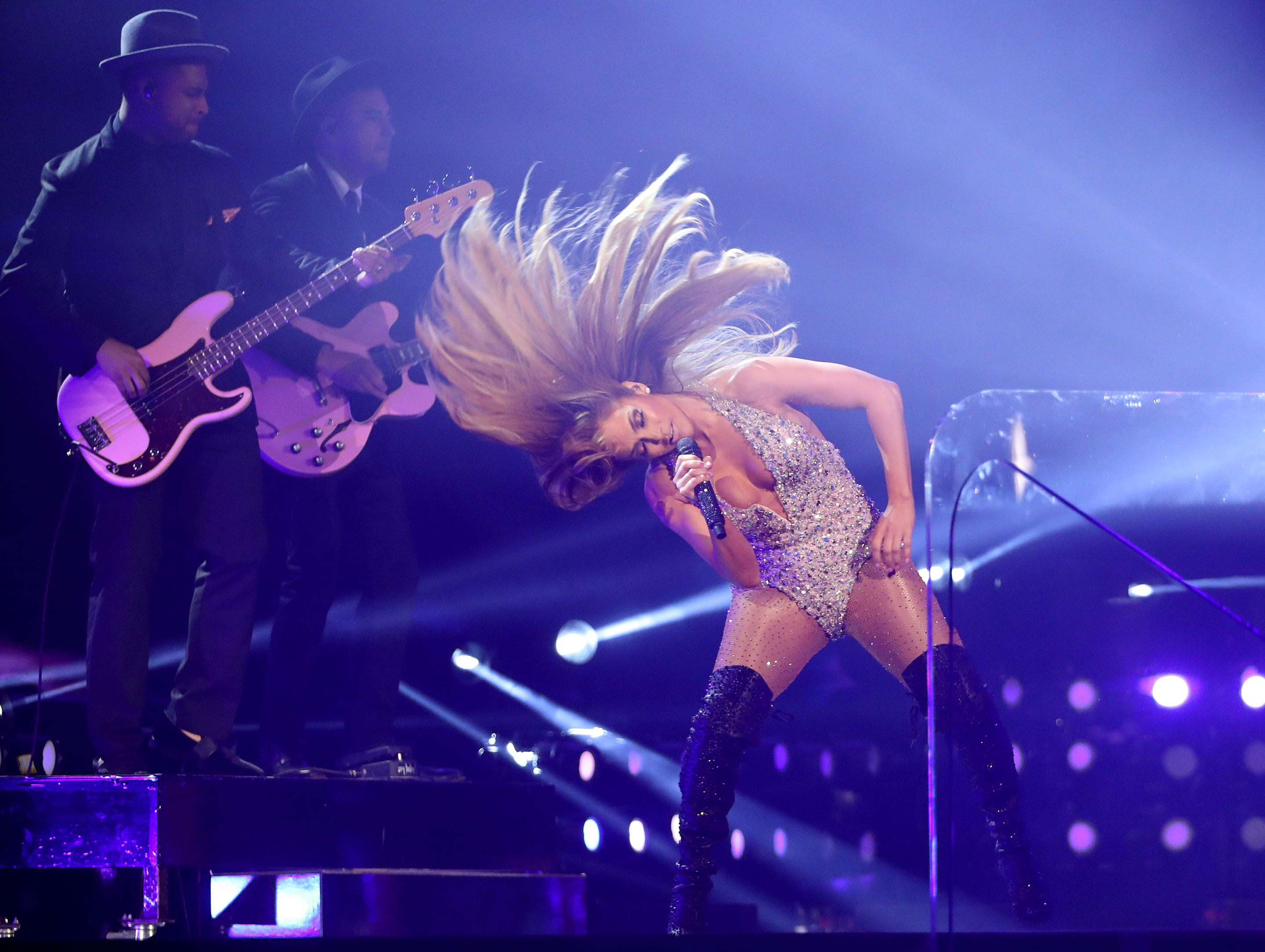 Jennifer Lopez performs a medley during a tribute to Motown's 60th anniversary at the 61st annual Grammy Awards.