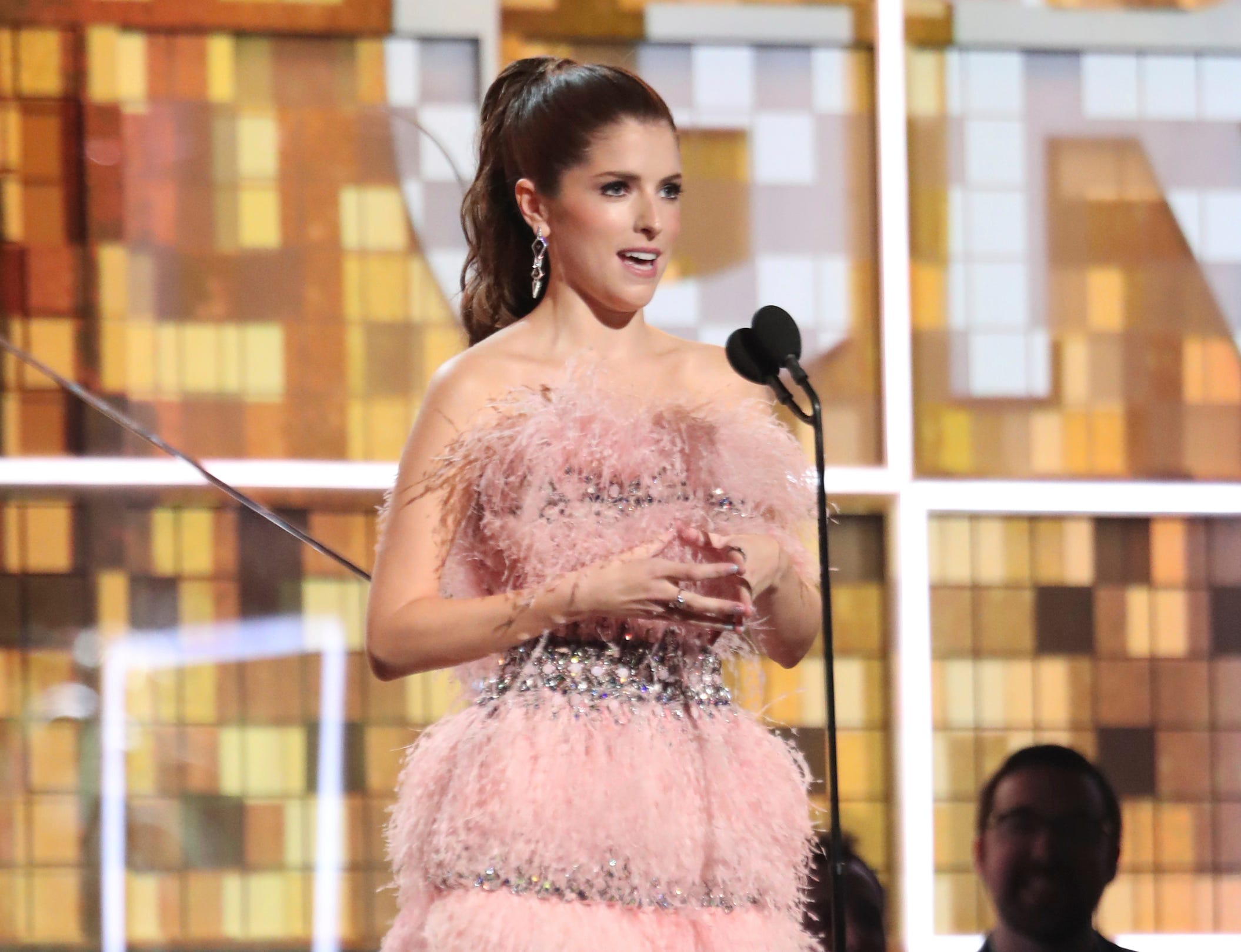 Anna Kendrick introduces a performance by Dolly Parton at the 61st annual Grammy Awards.
