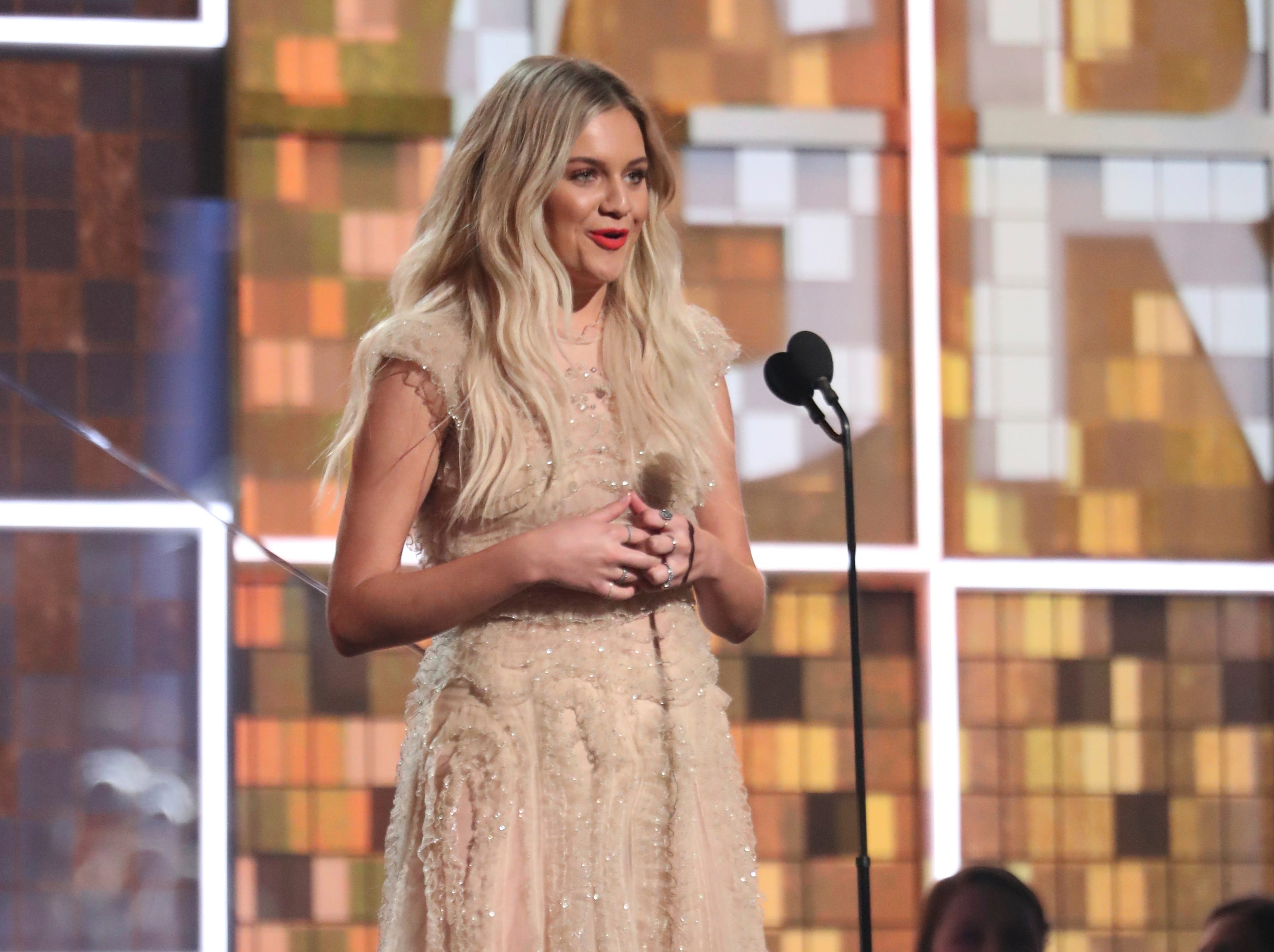 Kelsea Ballerini introduces a performance by Brandi Carlile at the 61st annual Grammy Awards.