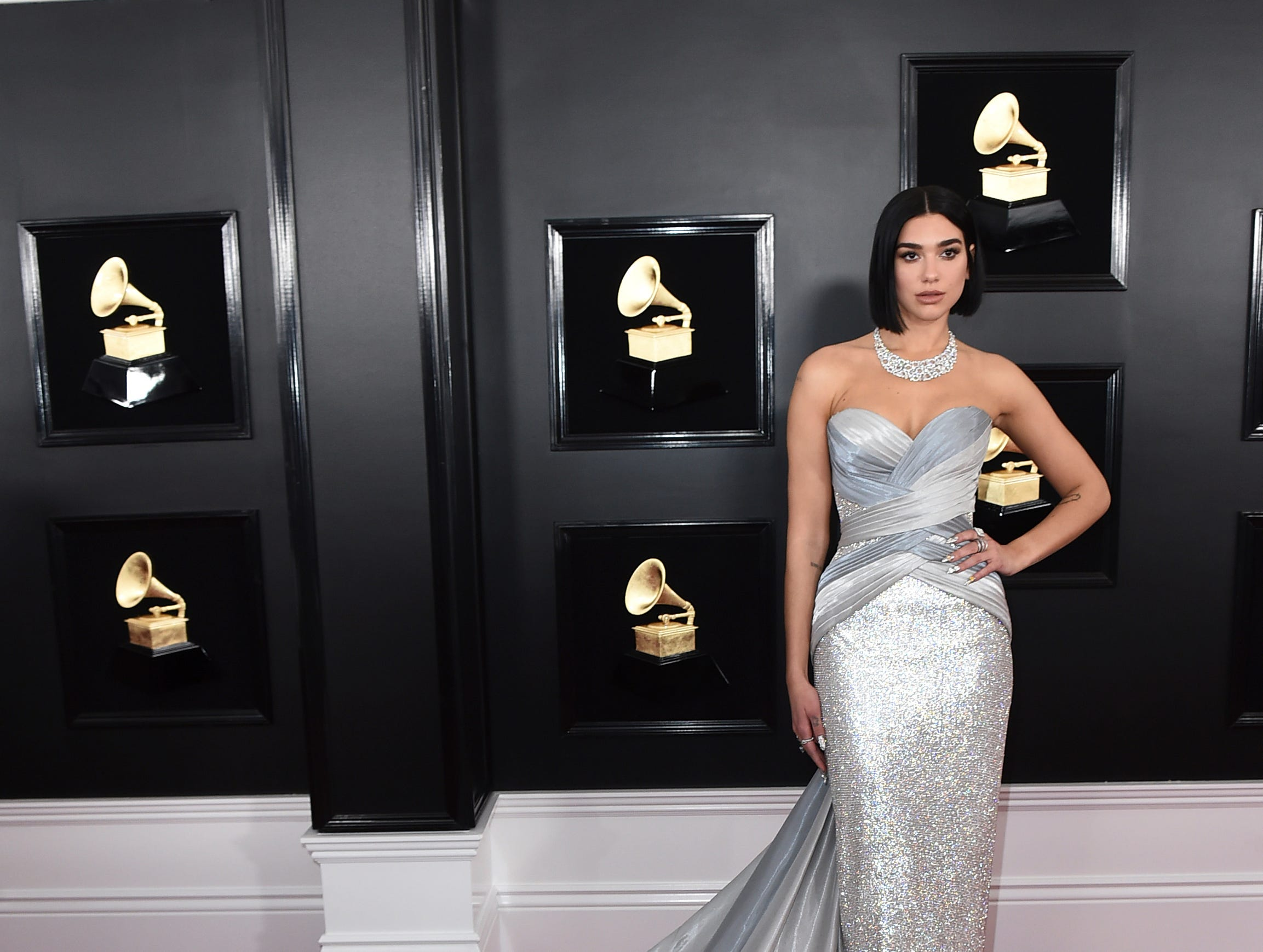 Dua Lipa arrives at the 61st annual Grammy Awards.
