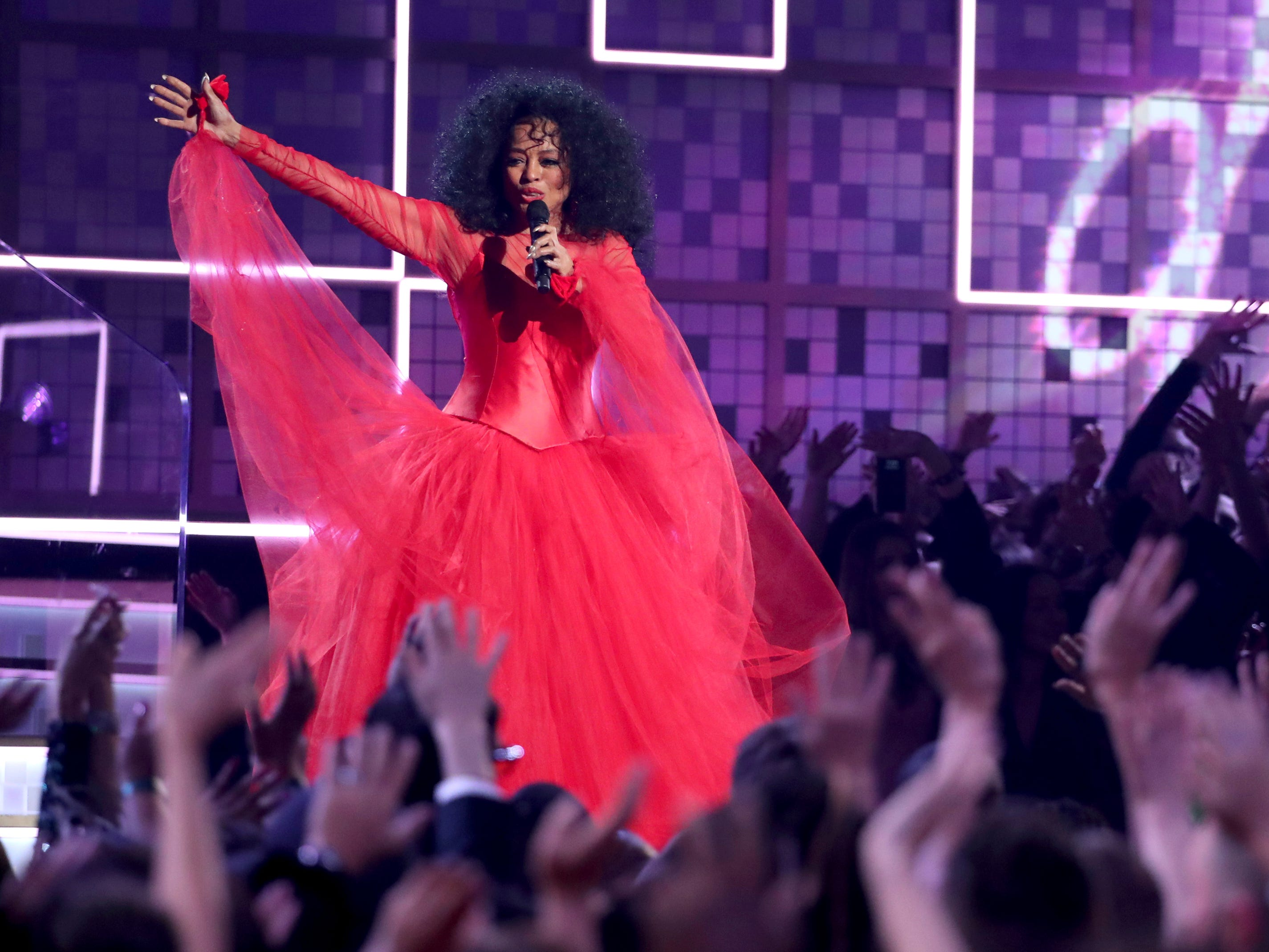 Diana Ross performs a medley at the 61st annual Grammy Awards.