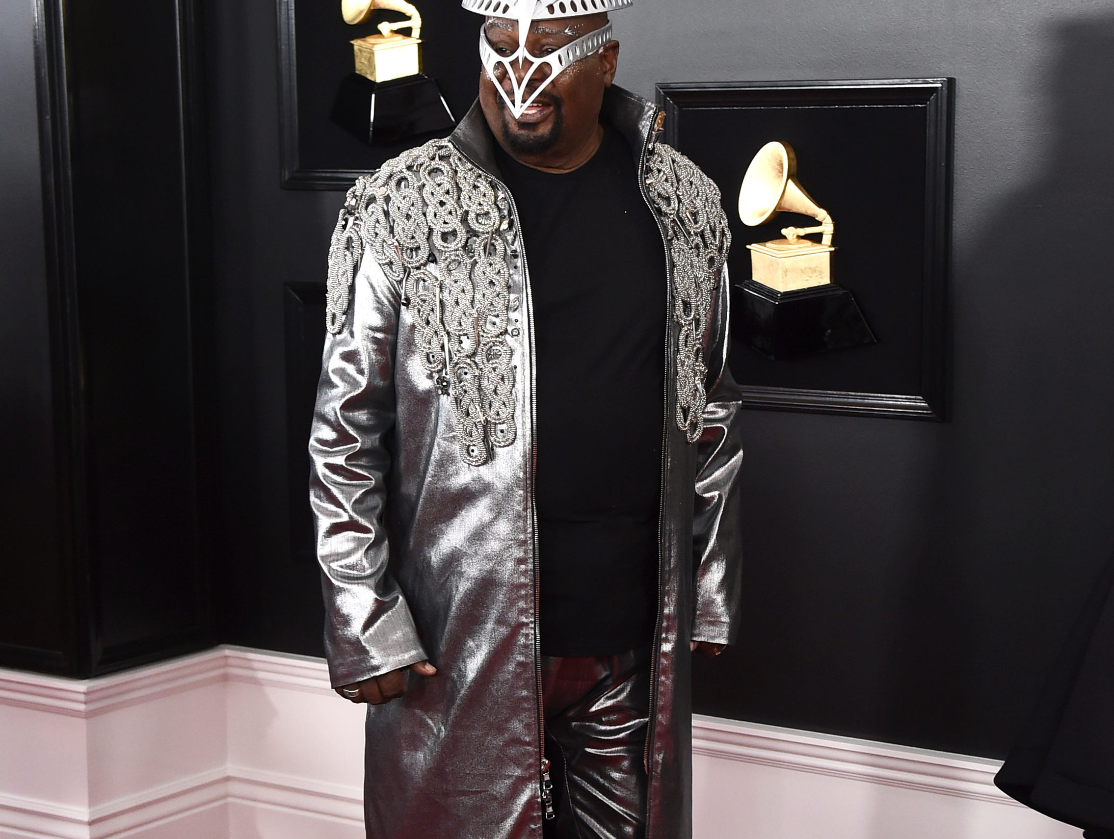 George Clinton arrives at the 61st annual Grammy Awards.