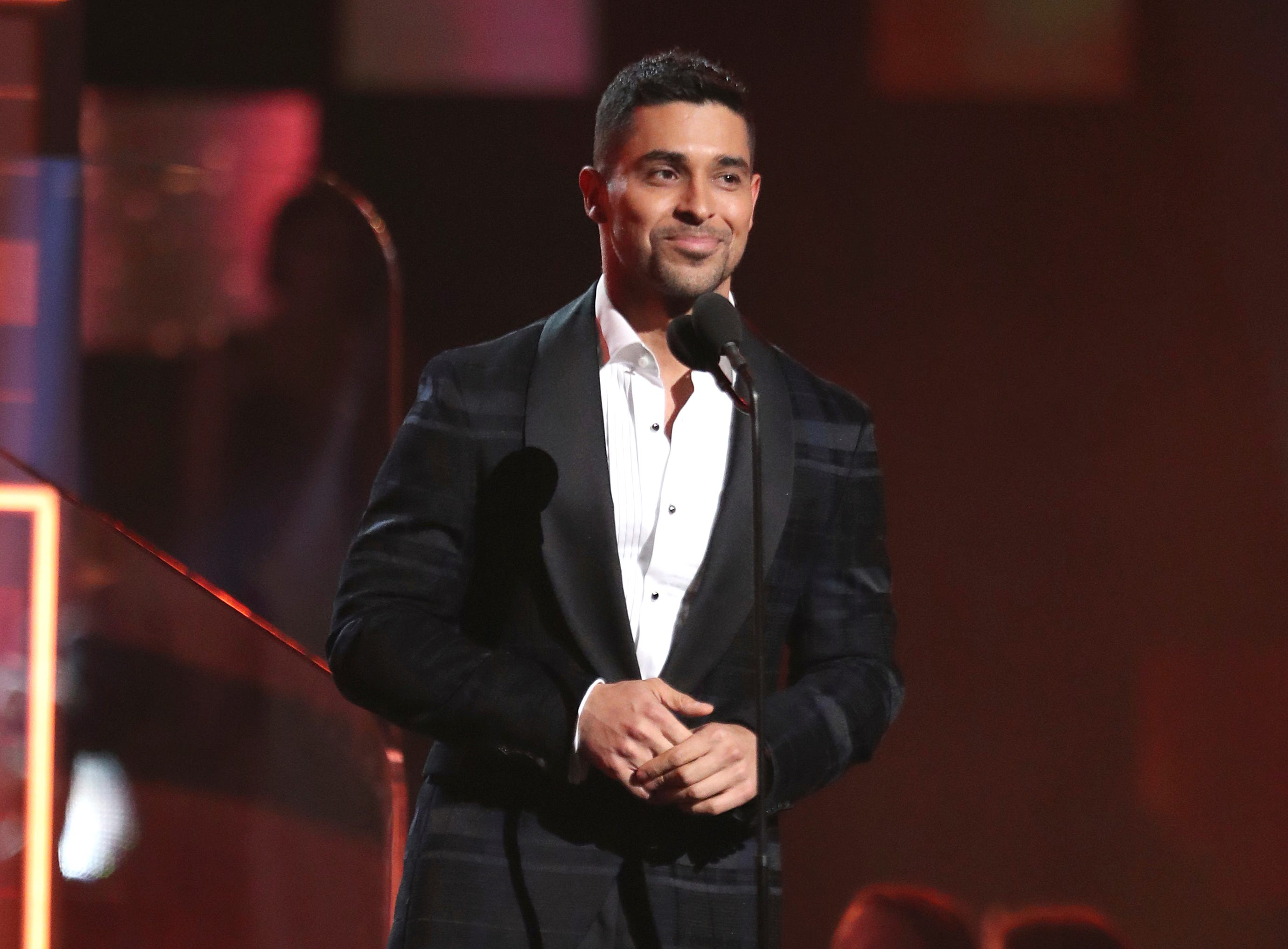 Wilmer Valderrama introduces a performance by Dua Lipa and St. Vincent at the 61st annual Grammy Awards.