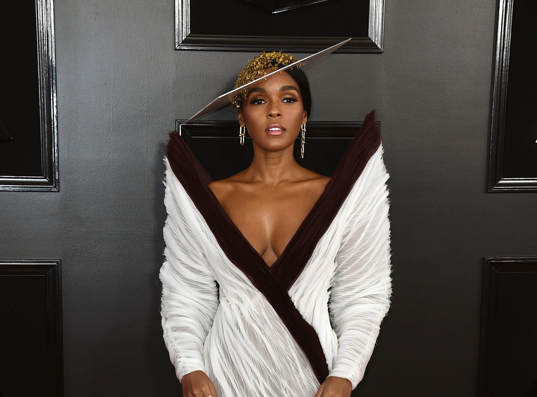 Janelle Monae arrives at the 61st annual Grammy Awards.