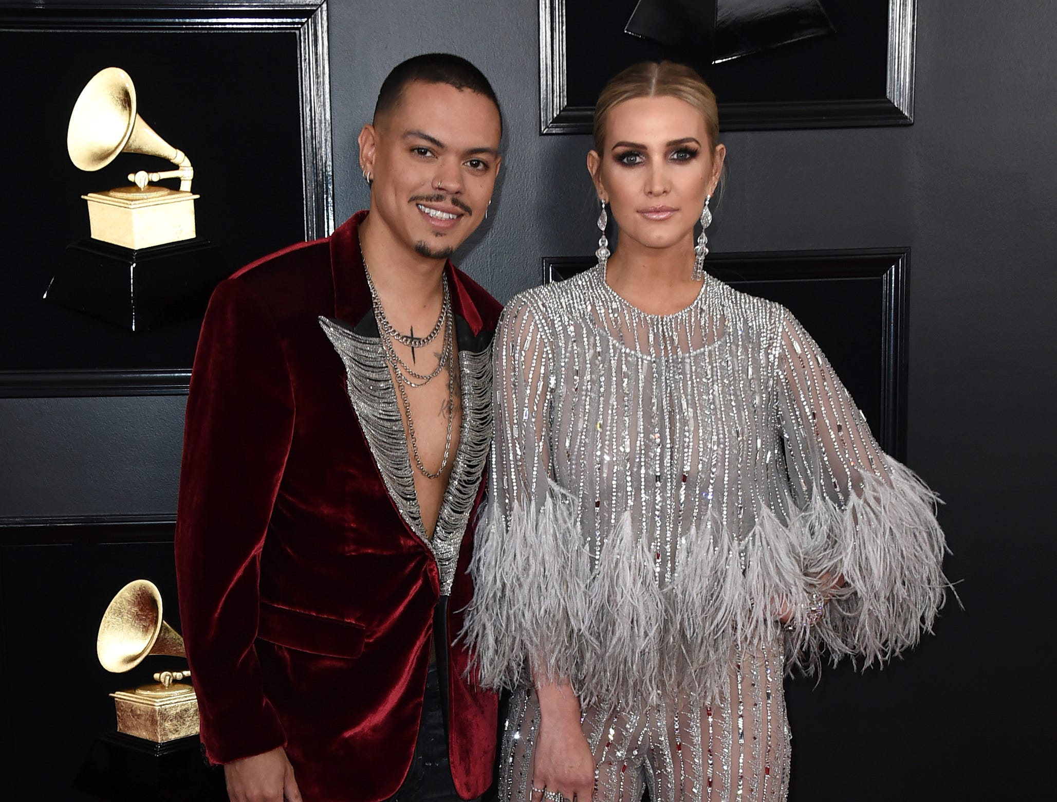 Evan Ross, left, and Ashlee Simpson arrive at the 61st annual Grammy Awards.