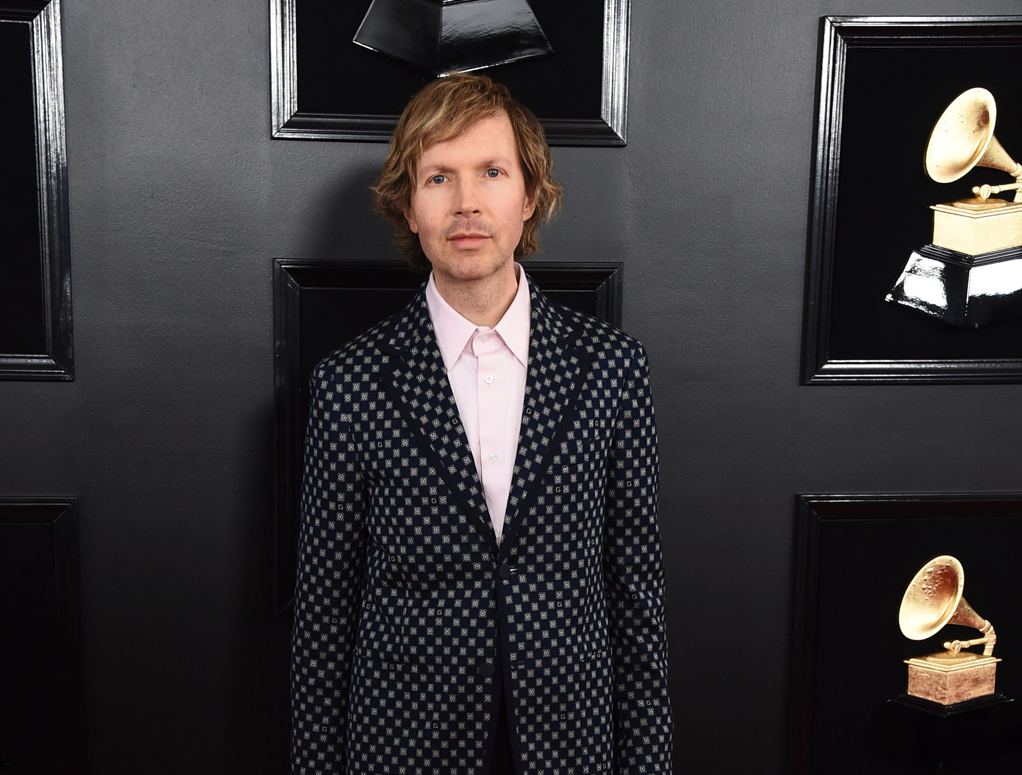 Beck arrives at the 61st annual Grammy Awards.