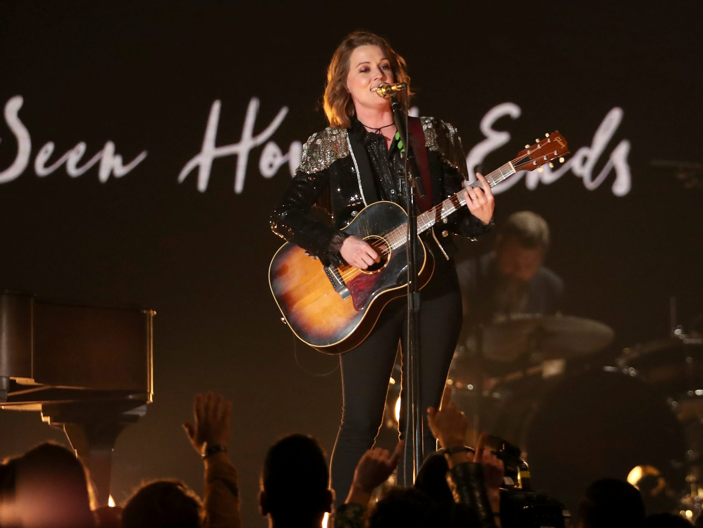 "Brandi Carlile performs ""The Joke"" at the 61st annual Grammy Awards."