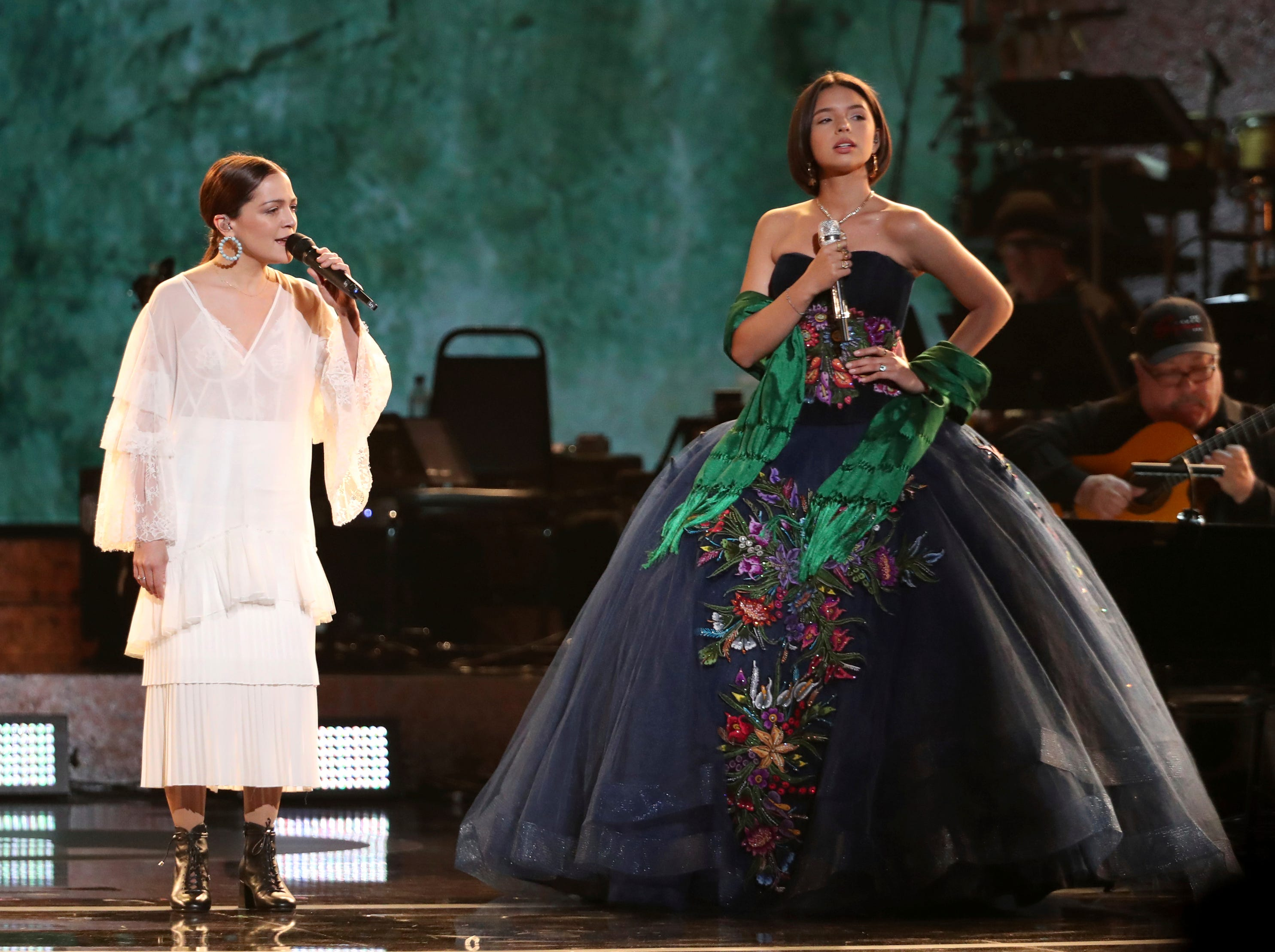 "Natalia Lafourcade, left, and Angela Aguilar perform ""La Llorona"" at the 61st annual Grammy Awards."