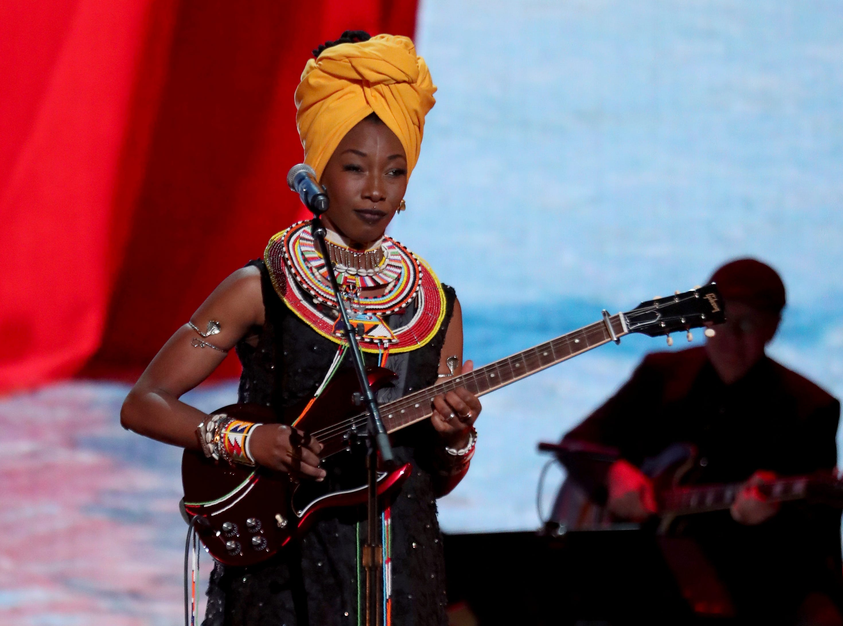 Fatoumata Diawara performs at the 61st annual Grammy Awards.