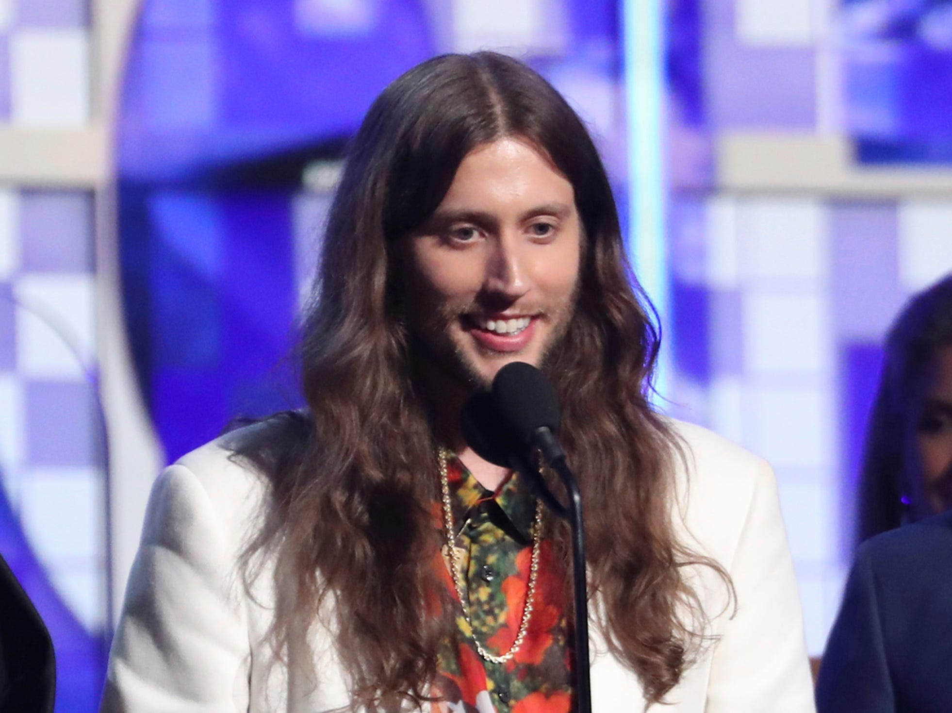 "Ludwig Goransson, accepts the award for record of the year for ""This Is America"" at the 61st annual Grammy Awards."