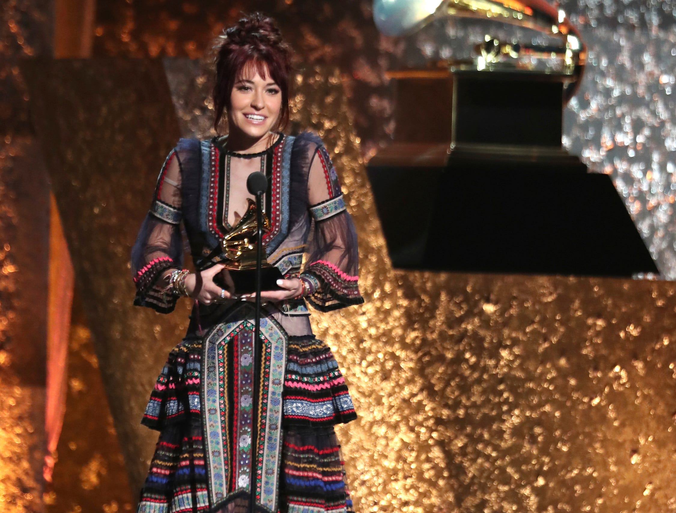 "Lauren Daigle accepts the award for best contemporary christian music/song for ""You Say"" at the 61st annual Grammy Awards."