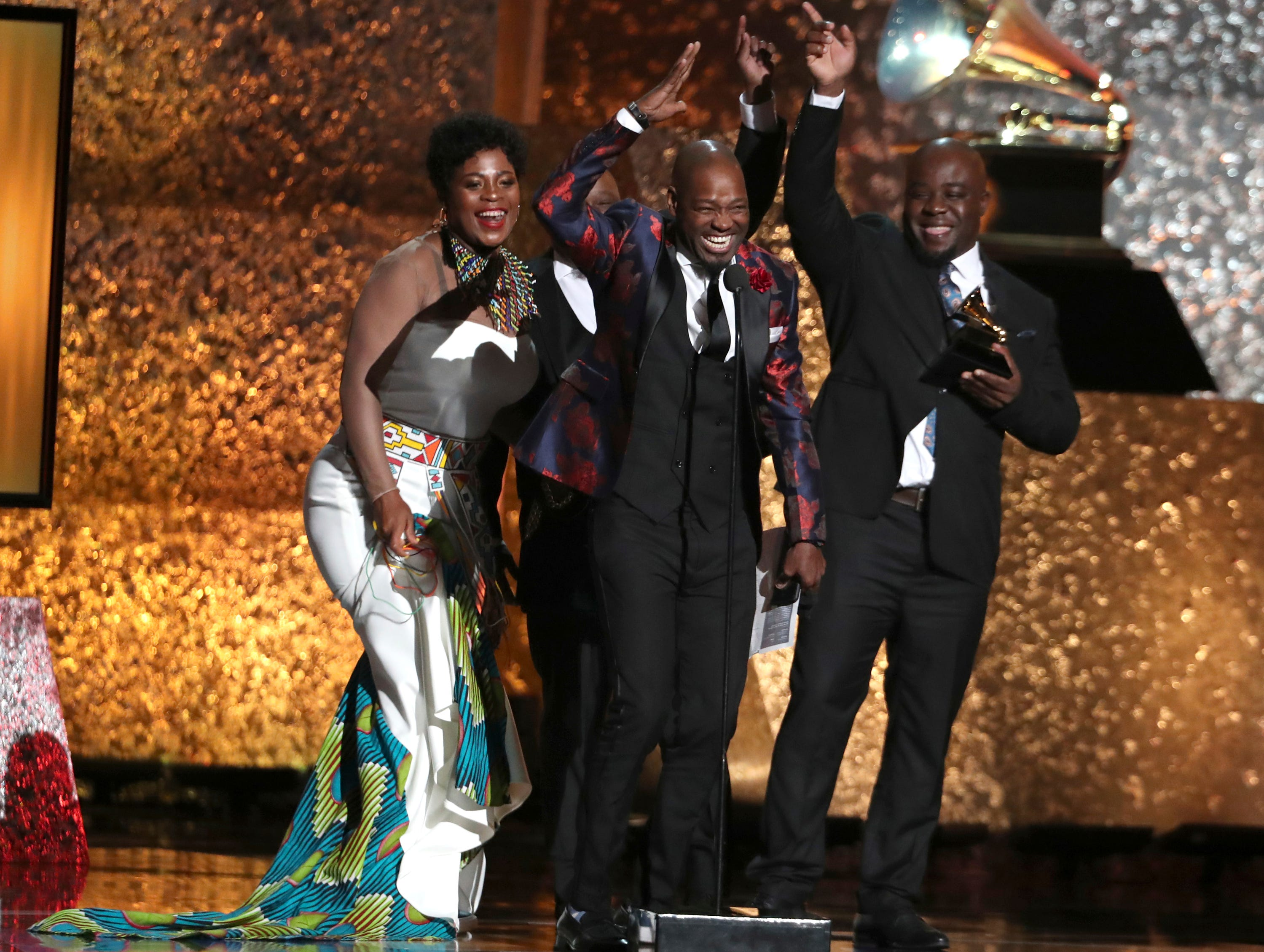 "Soweto Gospel Choir accept the award for best world music album for ""Freedom"" at the 61st annual Grammy Awards."