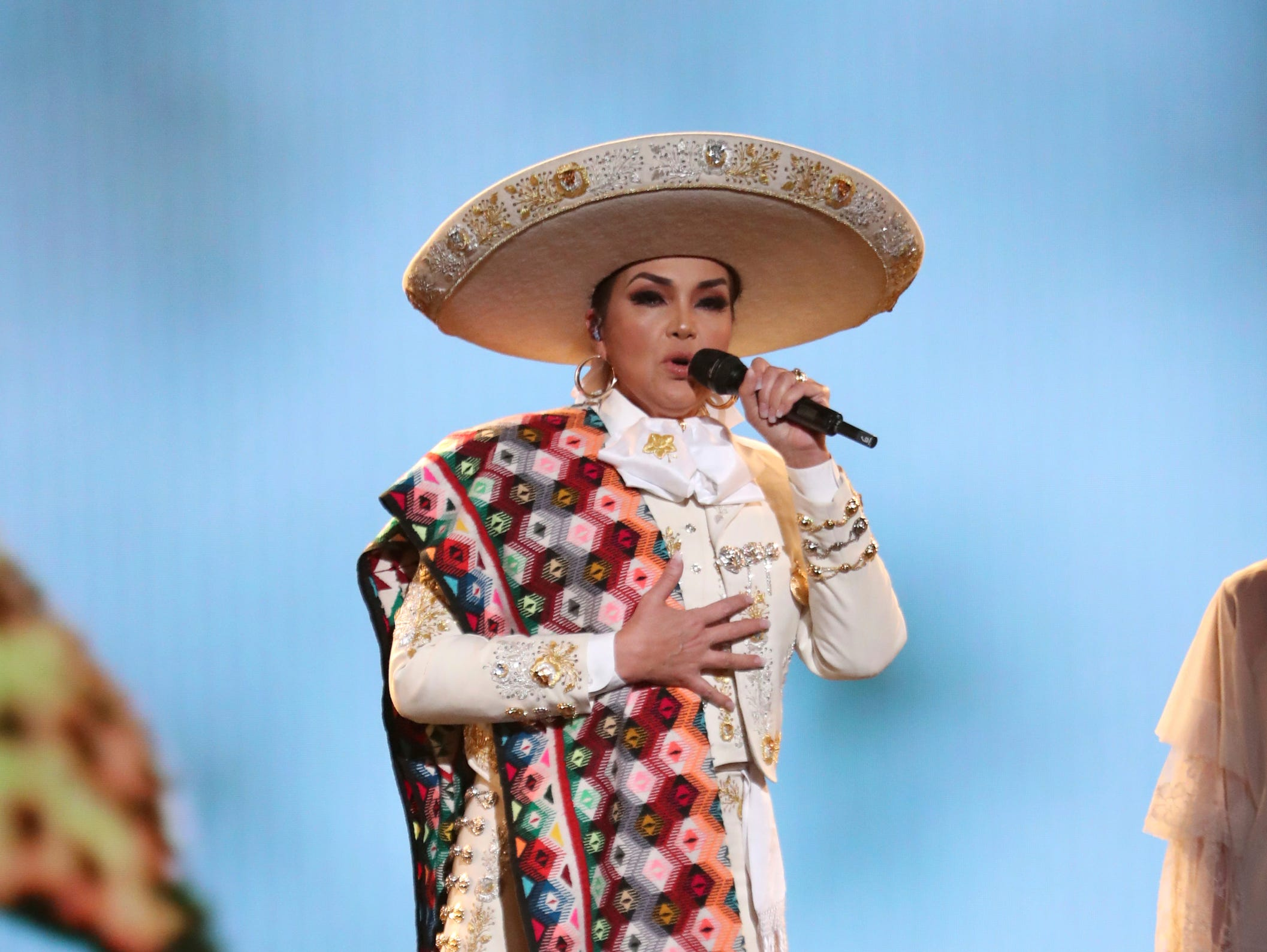 "Aida Cuevas performs ""La Llorona"" at the 61st annual Grammy Awards."