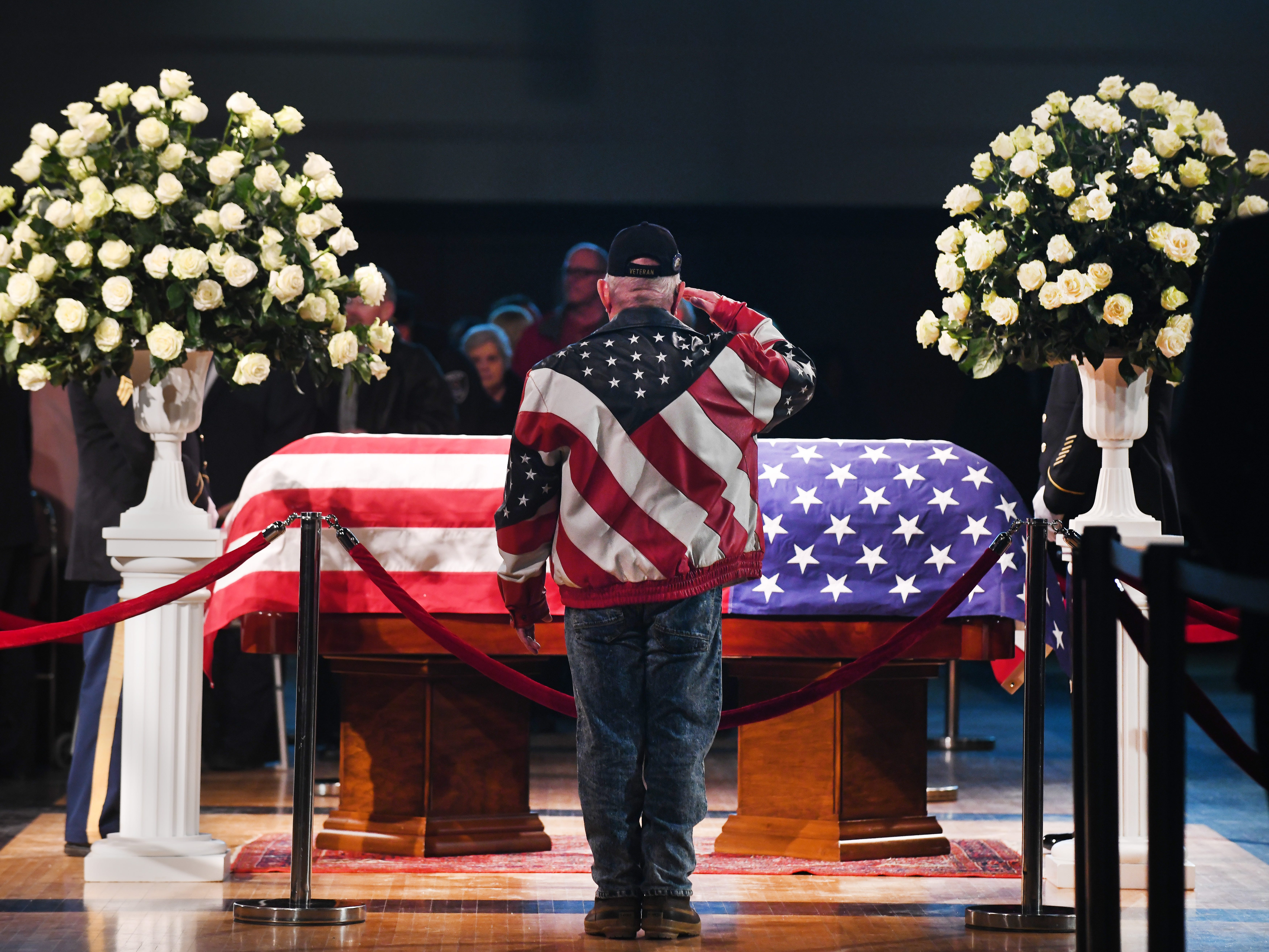 """John Dingell was like a dad to me, "" comments Korea and Vietnam veteran Elmer Trombley of Riverview, where he has been a councilman for 37 years. Friends, family and admirers file past the casket of retired Rep. John D. Dingell at the Ford Community and Performing Arts Center in Dearborn."