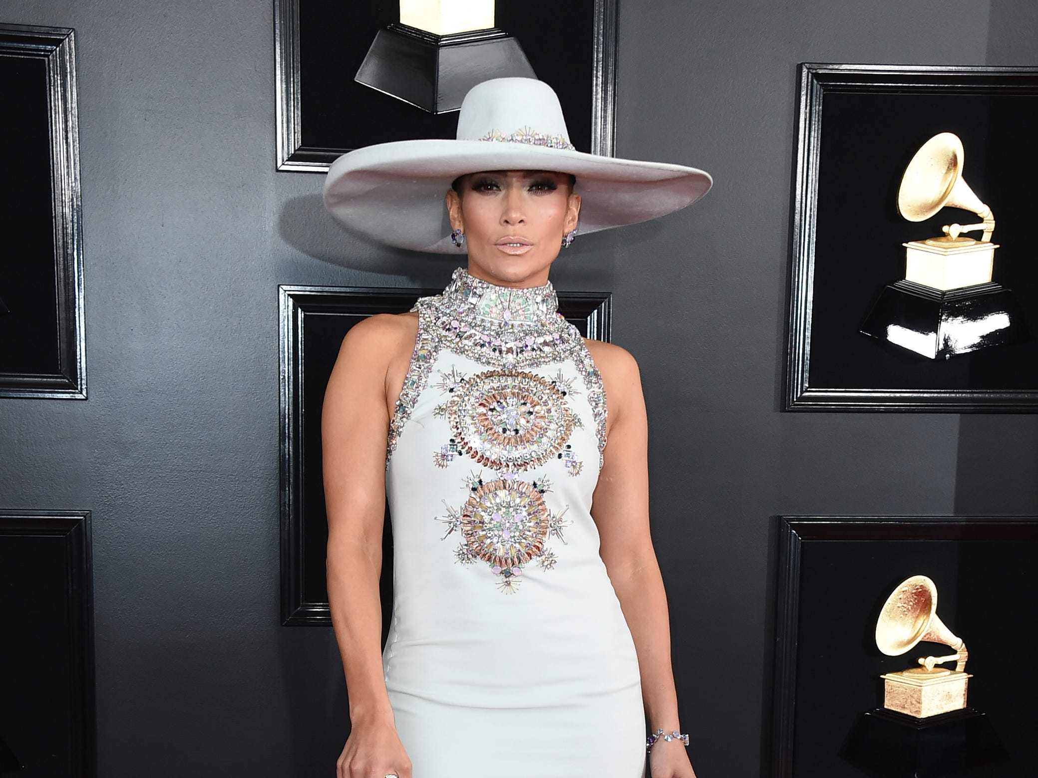 Jennifer Lopez arrives at the 61st annual Grammy Awards.