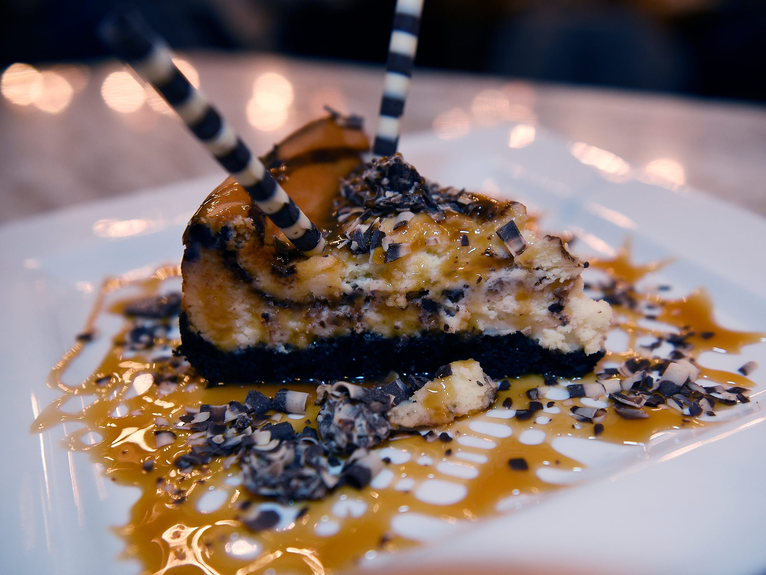 A plate of the Black Bottom Cheese Cake.