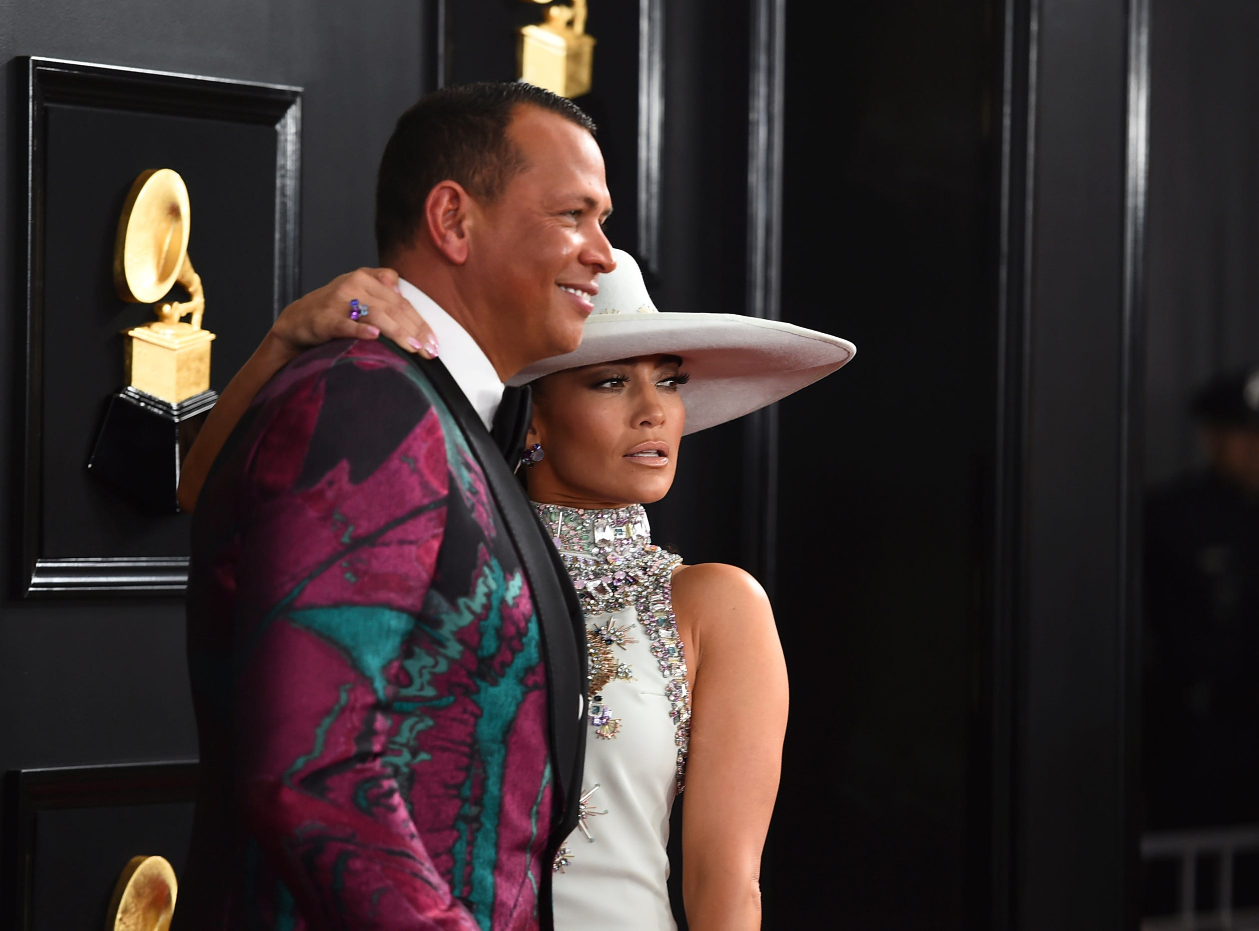 Alex Rodriguez, left, and Jennifer Lopez arrive at the 61st annual Grammy Awards.