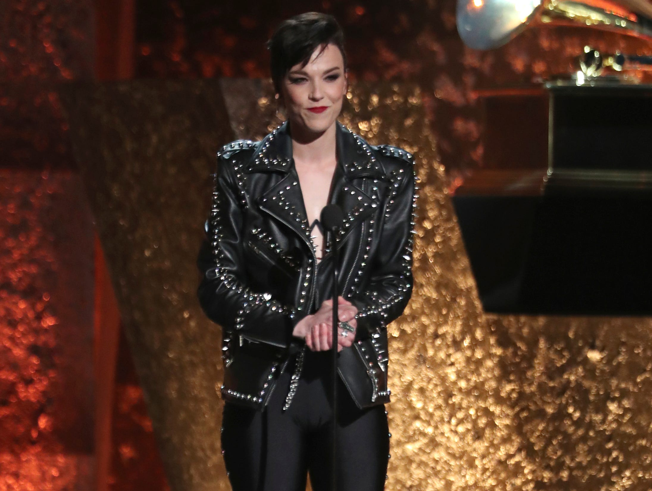 Lzzy Hale speaks at the 61st annual Grammy Awards.