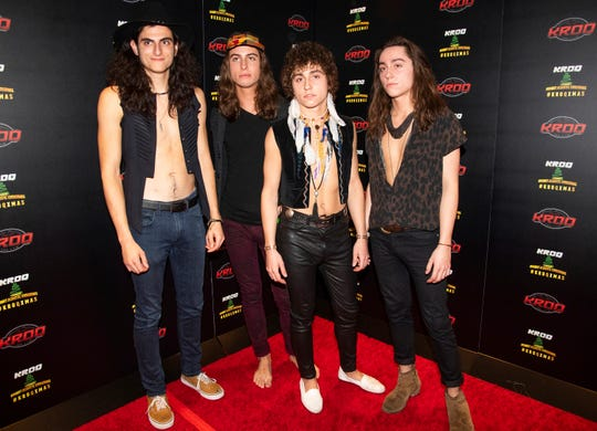 Members of Greta Van Fleet, from left, Danny Wagner,  Sam Kiszka, Josh Kiszka, and Jake Kiszka at the 2018 KROQ Absolut Almost Acoustic Christmas in Inglewood, Calif. The young Michigan rockers whose sound and classic rock look is reminiscent of Led Zeppelin have won a best rock album Grammy.