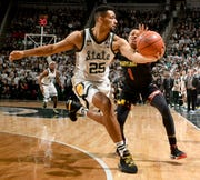 Michigan State senior Kenny Goins is questionable for Tuesday's game at Wisconsin because of an elbow injury sustained Saturday against Minnesota.