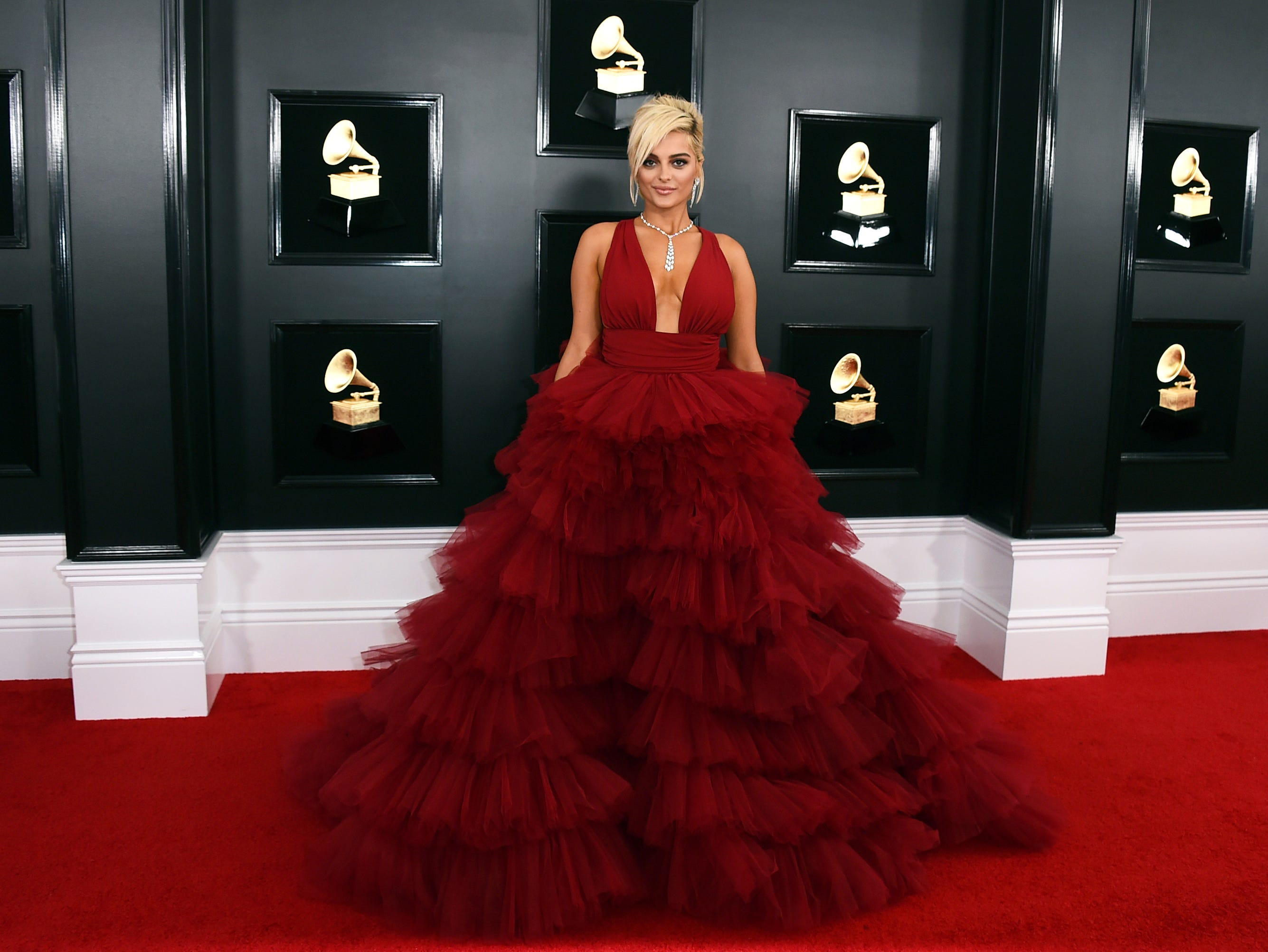 Bebe Rexha arrives at the 61st annual Grammy Awards.