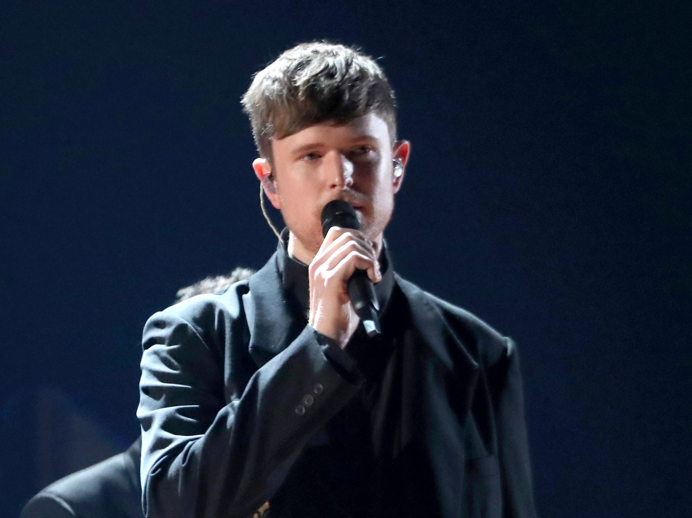 James Blake performs a medley at the 61st annual Grammy Awards.