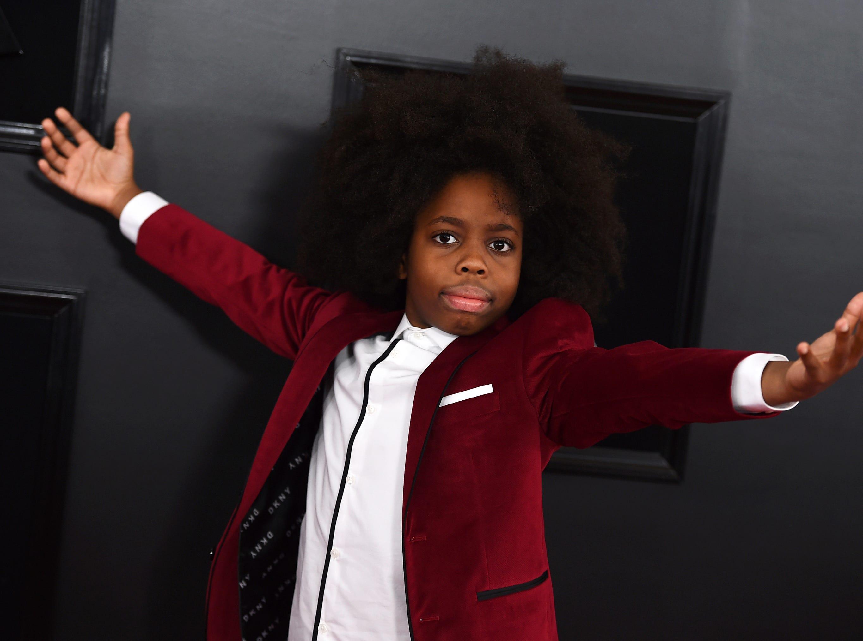 Raif-Henok Emmanuel Kendrick, grandson of Diana Ross, arrives at the 61st annual Grammy Awards.
