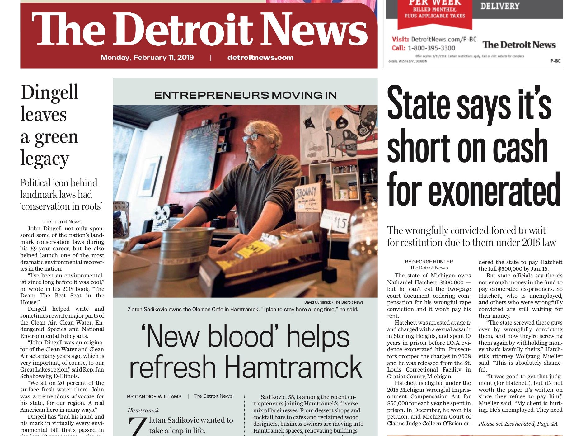 The front page of the Detroit News on February 11, 2019.