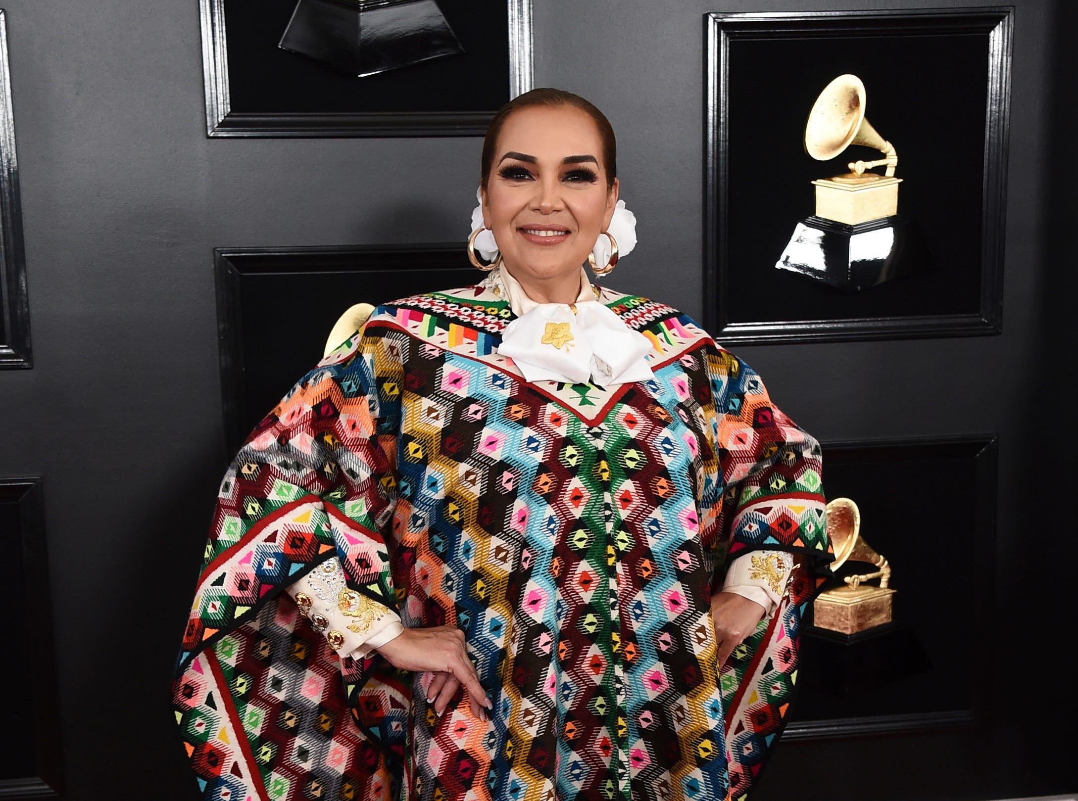 Aida Cuevas arrives at the 61st annual Grammy Awards.