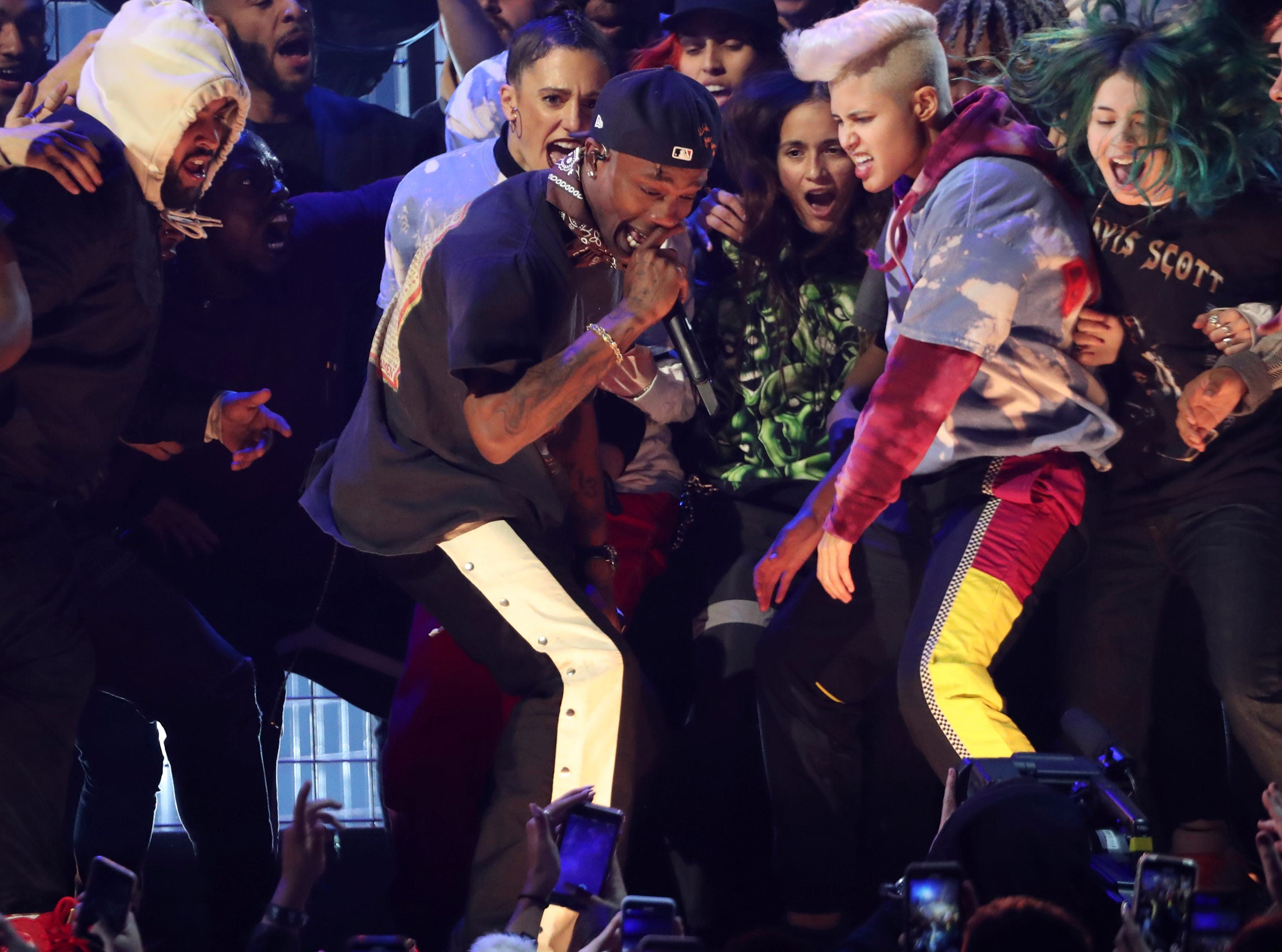 Travis Scott performs a medley at the 61st annual Grammy Awards.