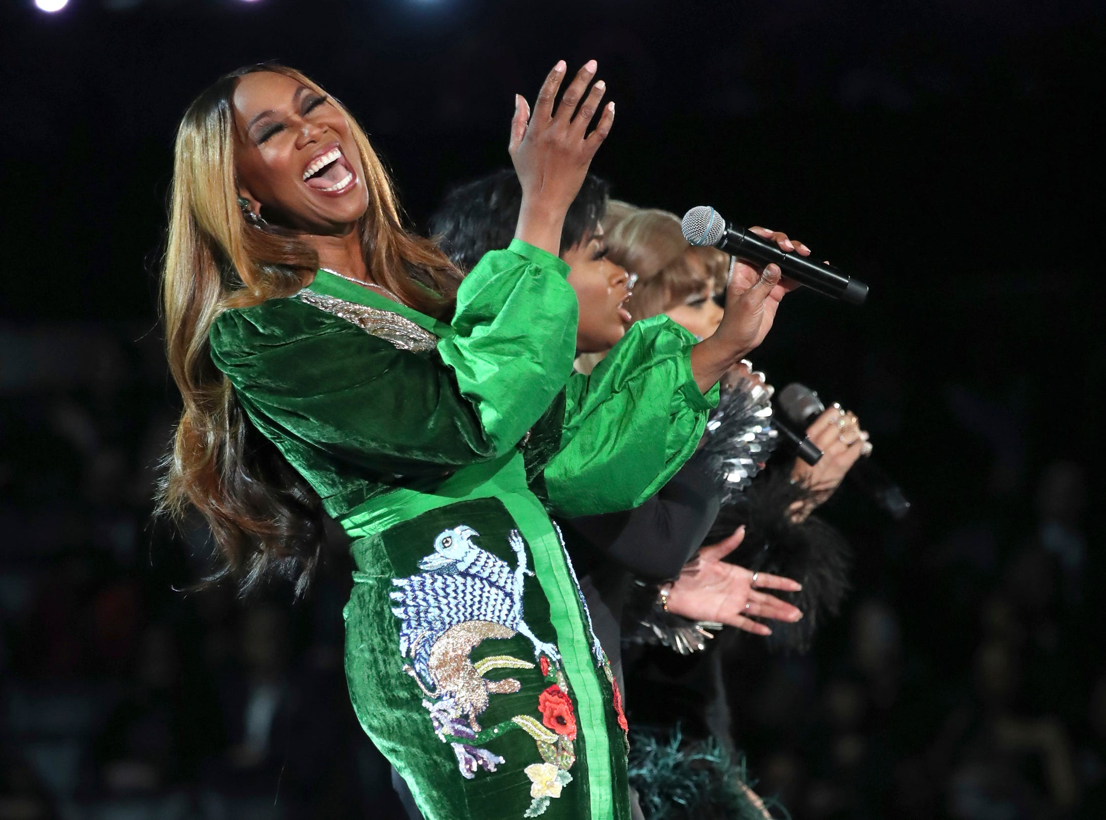 """Yolanda Adams, from left, Fantasia and Andra Day perform """"(You Make Me Feel Like) A Natural Woman"""" during a tribute to Aretha Franklin at the 61st annual Grammy Awards."""