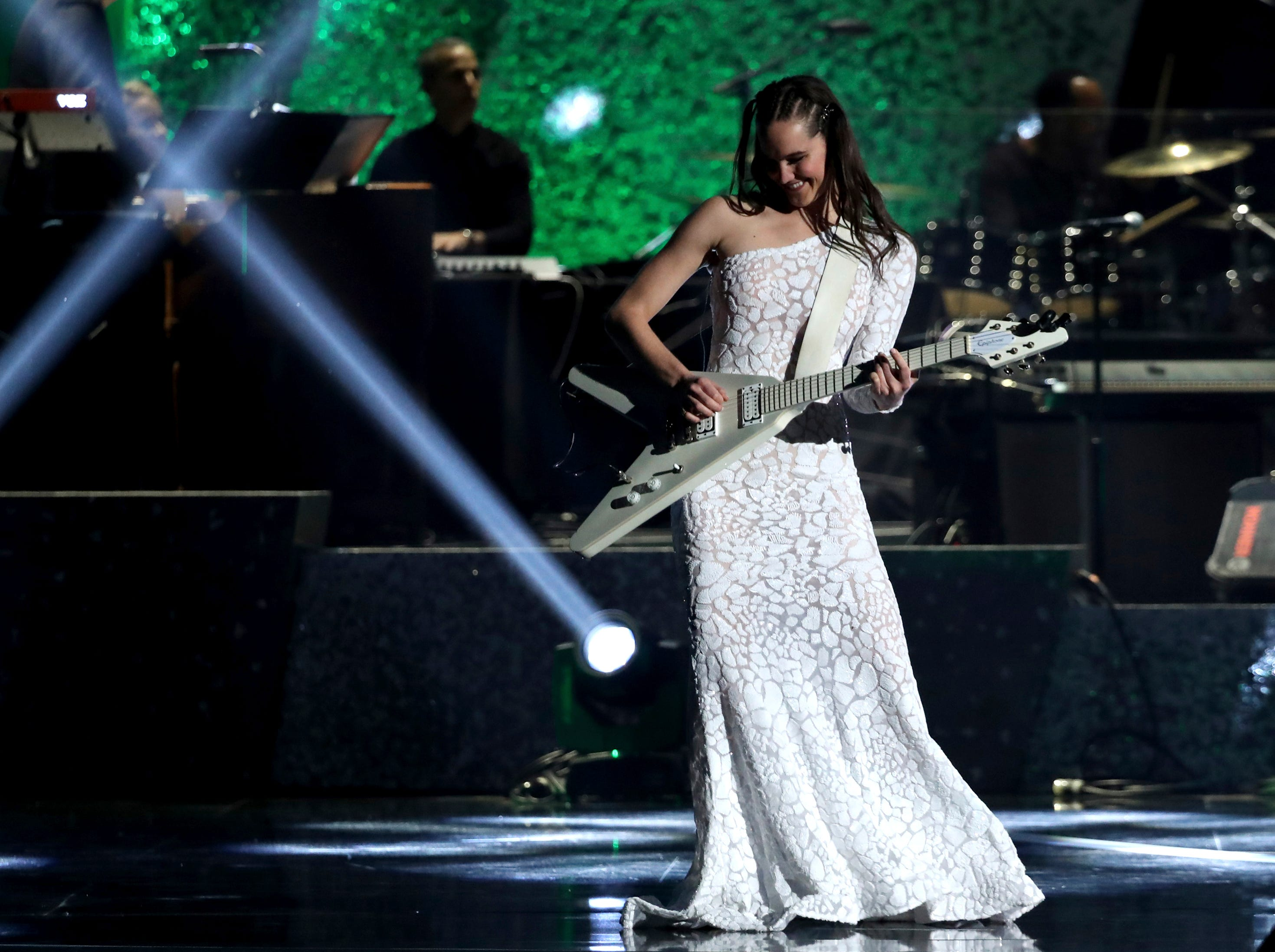 "Sophie Hawley-Weld of ""Sofi Tukker"" performs at the 61st annual Grammy Awards."