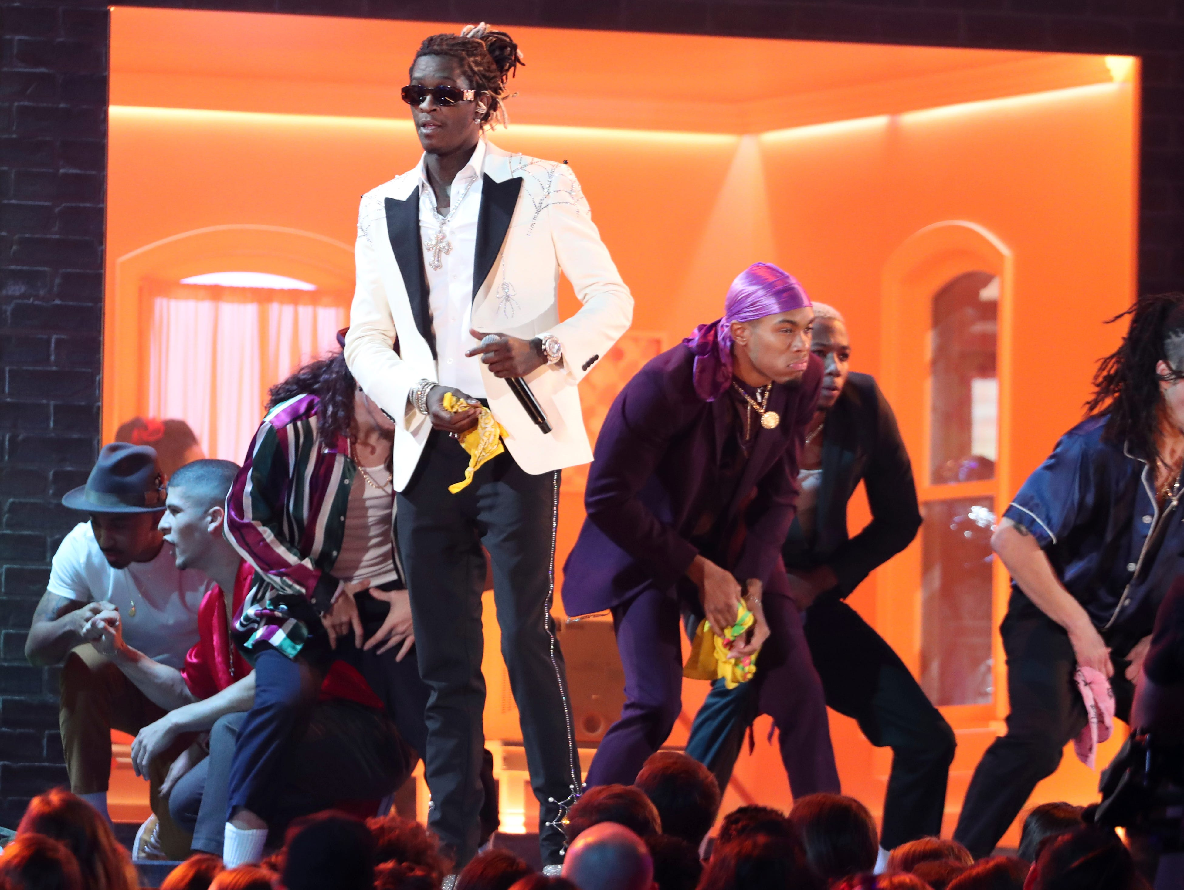"Young Thug performs ""Havana"" at the 61st annual Grammy Awards."