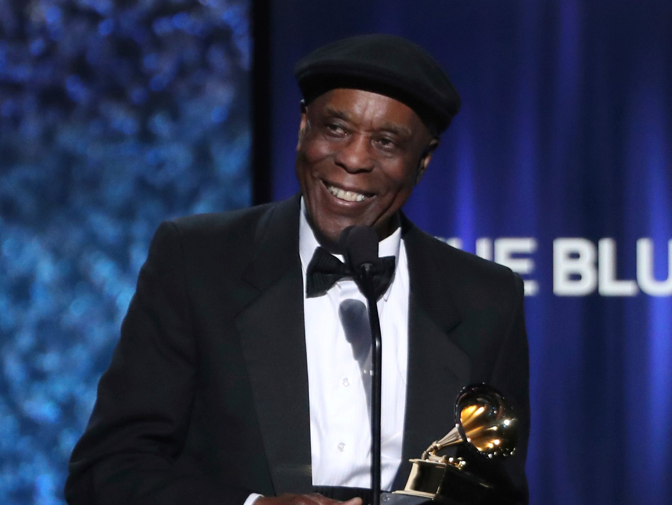 "Buddy Guy accepts the award for best traditional blues album for ""The Blues Is Alive and Well"" at the 61st annual Grammy Awards."