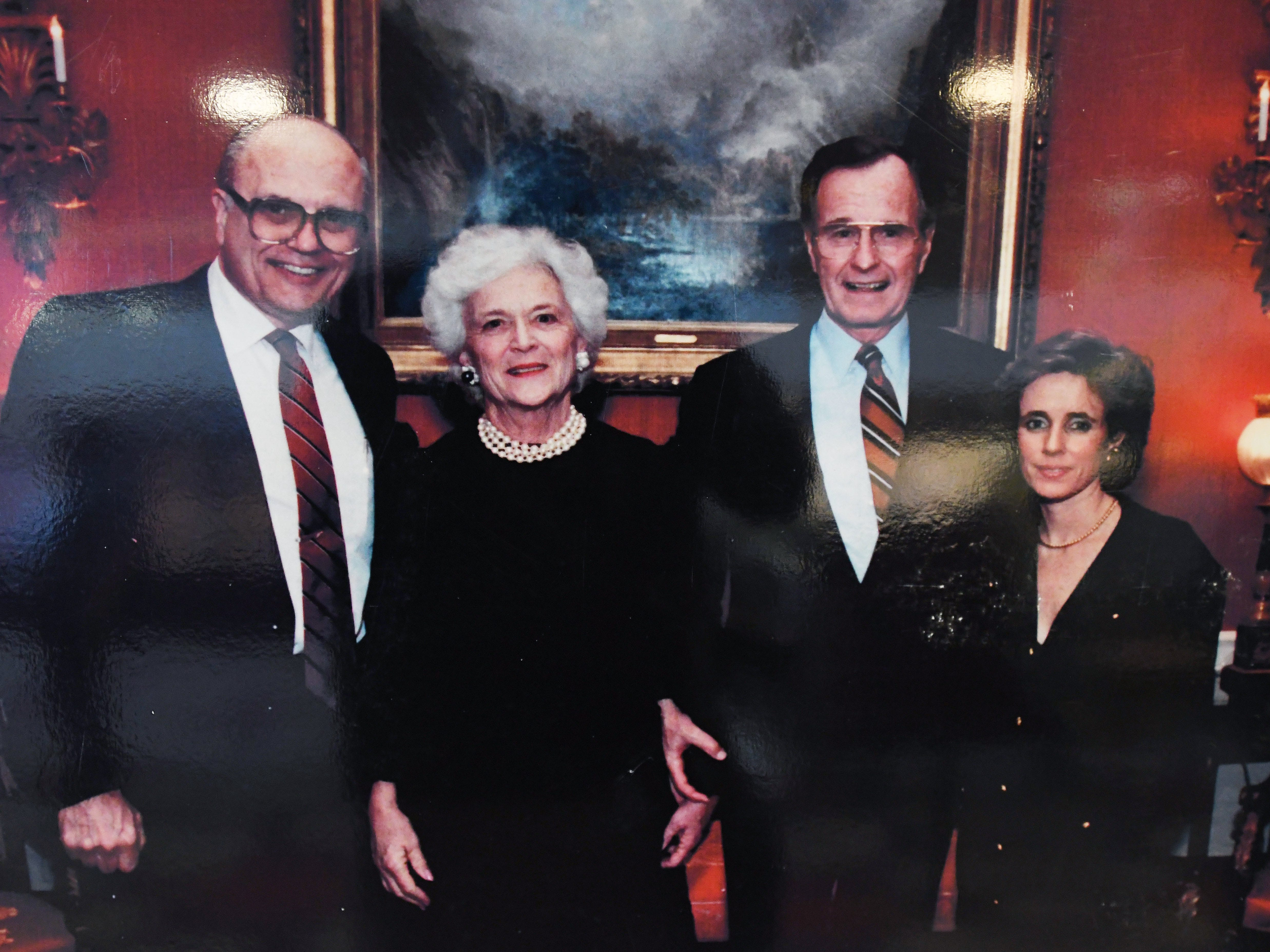 From left, U.S. Rep. John Dingell, first lady Barbara Bush, President George H.W. Bush and Debbie Dingell, circa 1990.
