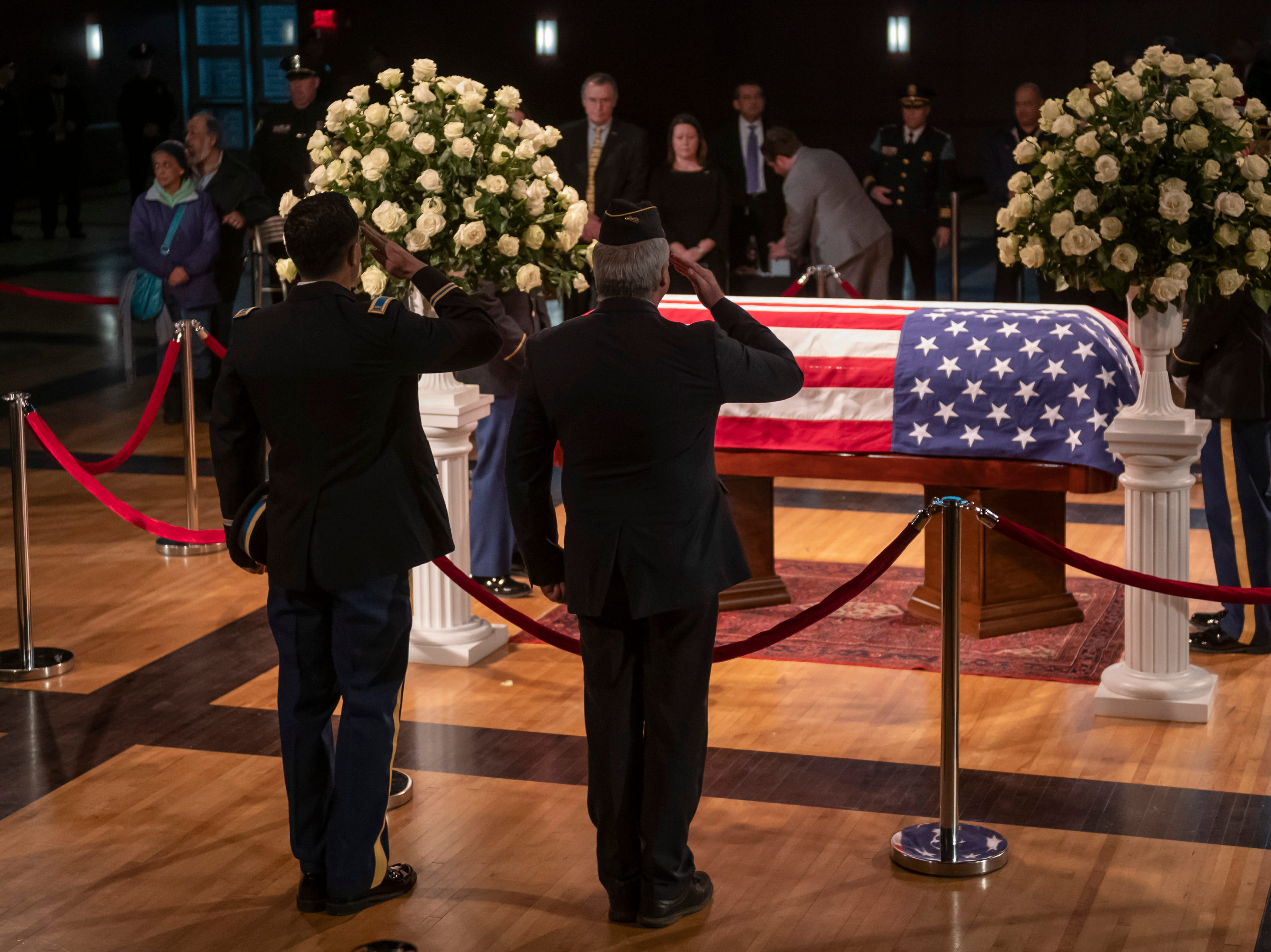 Members of the American Legion Ford Dearborn Post 364 show their respect during a visitation for former U.S. Rep. John Dingell, held at the Ford Community and Performing Arts Center, in Dearborn, February 11, 2019.