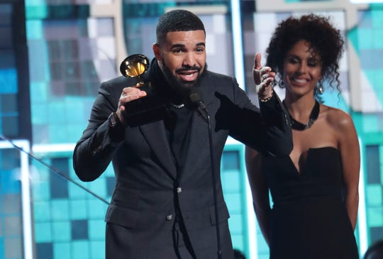 "Drake accepts the award for best rap song for ""God's Plan"" at the 61st annual Grammy Awards."