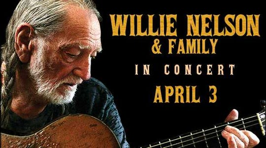 Willie Nelson will perform at the Old National Events Plaza in Evansville on April 3.